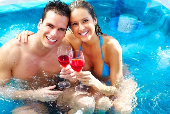 Couple in Relax Hot Tub in Salt Lake City
